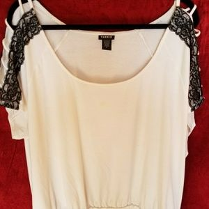White and black lace Torrid top